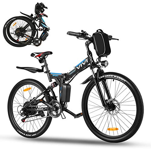 Vivi 26' Folding Electric Bike,350W Electric Mountain Bike,Adults Ebike with Removable 36V 8Ah Battery,Shimano 21 Speed Electric Bikes for Adults,Double Shock Absorption,20MPH & 50 Mile Range (Black)