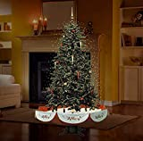 """Fraser Hill Farm 55"""" Musical Tree with Red Base and Snow Function Christmas Decoration"""