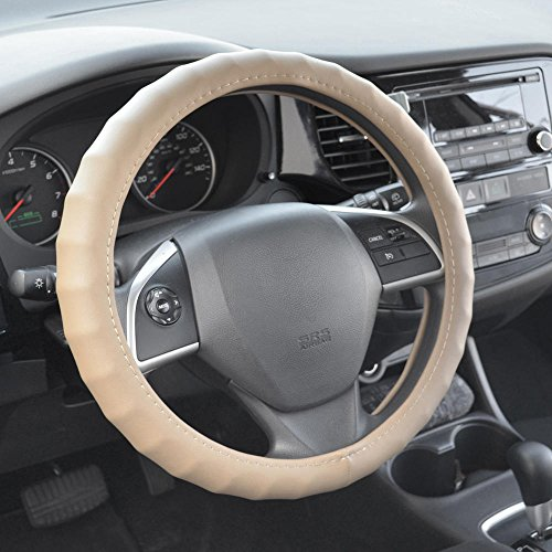 BDK SW-899-MB (14.5-15.5) Ergonomic ComfortGrip Originals Leather Car Steering Wheel Cover for Car Auto (Sedan Truck SUV Minivan)(Medium/Tan Beige) -Universal Fit, Easy Installation, Max Protection
