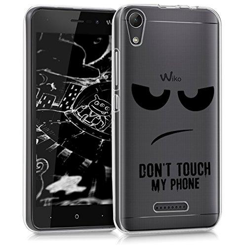 kwmobile Hülle kompatibel mit Wiko Lenny 4 - Hülle Handy - Handyhülle - Don't Touch My Phone Schwarz Transparent