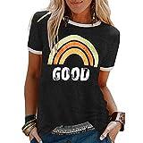 Innerternet Damen Good T-Shirt Regenbogen Muster Shirt Rundhals Kurzarm Oberteile Hemd Tops Bluse Sommer Oberteile Oben Hemd Grafik Drucken Oberteile Tee Tops (XL, Schwarz)
