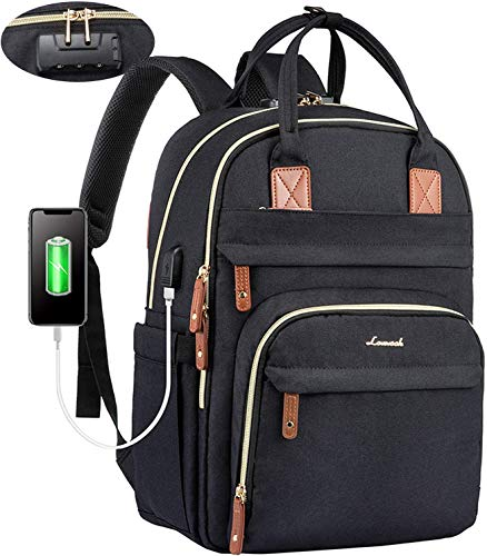 Laptop rucksack damen Anti-Diebstahl mit codiertes Schloss, damen rucksack groß mit USB Ladeanschluss schulrucksack mädchen teenager mit großer Kapazität Laptop rucksack mit laptopfach schwarz
