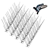 Bird Spikes for Pigeons Small Birds Cat, Anti Bird Spikes Stainless Steel Bird Deterrent Spikes 14 Strips Cover 15 Feet
