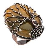 CrystalTears Retro Vintage Albero della Vita Filo di rame avvolto ovale gemma curativa cristallo anello regolabile bronzo 51,9 mm e Rame, 11, colore: Pietra occhio di tigre., cod. FPDE
