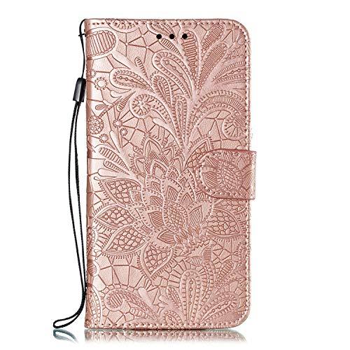 Hülle für Motorola One Zoom Lederhülle Flip Tasche Klappbar Handyhülle mit [Kartenfächer] [Ständer Funktion], Cover Schutzhülle für Motorola Moto One Zoom - JEEB021169 Rosa Gold