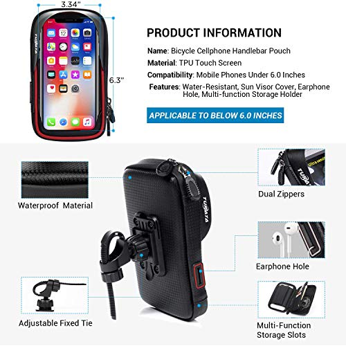 TURATA Fahrrad Lenkertasche Wasserdicht Rahmentaschen Multifunktional Motorrad Handyhalterung für 6″ Handy, Personalausweis, Bankkarte, Kopfhörer -Rot - 5