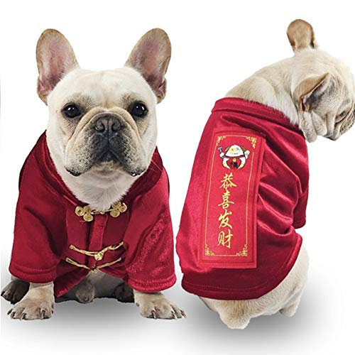 CheeseandU Small Dog Cat Winter Coat Chinese New Year Festival Holiday Dog Costume Dogs Tang Suit Cheongsam Coat Warm Thicken Jackets Clothes Accessory for Small Medium Dog Cat, Red
