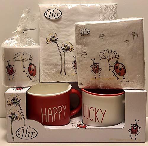 SET Happy lucky - 2 bekers - servetten lunch + cocktail - kaars met lieveheersbeestje voor geluk geboorte doop liefde Valentijnsdag
