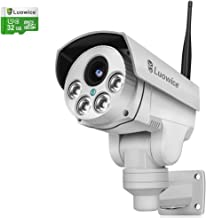 Luowice 1080P WiFi Security Camera Outdoor 2MP with PTZ 4X Zoom with Audio Night Vision and Built-in 32G Micro SD Card IP66 Waterproof IP Camera