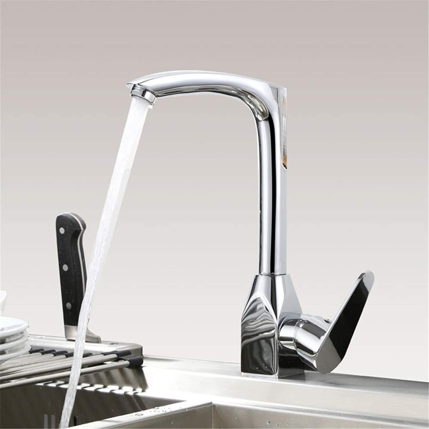 JIANGYE Single Lever Kitchen Sink Basin Mixer taps Modern Chrome High arc Single handle single hole kitchen faucet hot and cold water Mixers brass Lead free