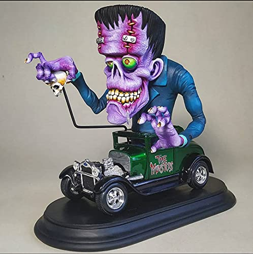YSYY Angry Big Mouth Monster Statue on Car - Halloween Party Resin Craft Horror Sculptures Home Garden Decoration For Outdoor Indoor Ornaments (B)