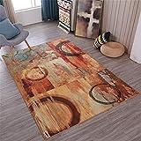 WQ-BBB Dormitorio La Alfombrae Minimalista Diseño Vintage Jaspeado marrón Azul Rojo Alfombra habitación 180X250cm