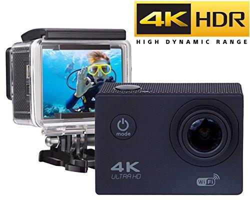 MadPrices Cámara de acción WiFi 4 K – Full HD 16 MP, cámara subacuática 4 K impermeable Web Camera 170 ° Gran Angular 2.0' Pantalla LCD con kit de accesorios y funda sumergible