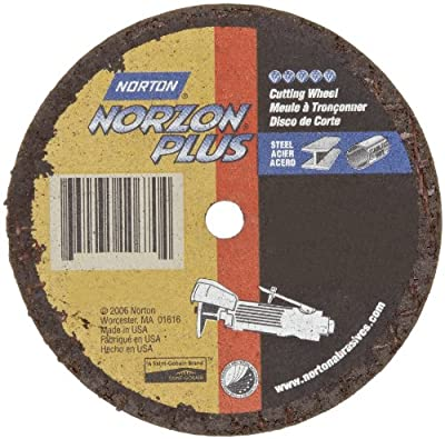 Norton NorZon Plus Small Diameter Reinforced Abrasive Flat Cut-off Wheel, Type 01, Zirconia Alumina