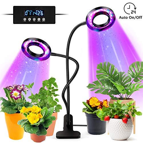 tronisky Pflanzenlampe LED, Pflanzenlicht 18W 36 LEDs Pflanzenleuchte mit Automatische Zeitschaltuhr, 3 Modus, 5 Helligkeit, Wachsen Licht Vollspektrum Wachstumslampe für Zimmerpflanzen