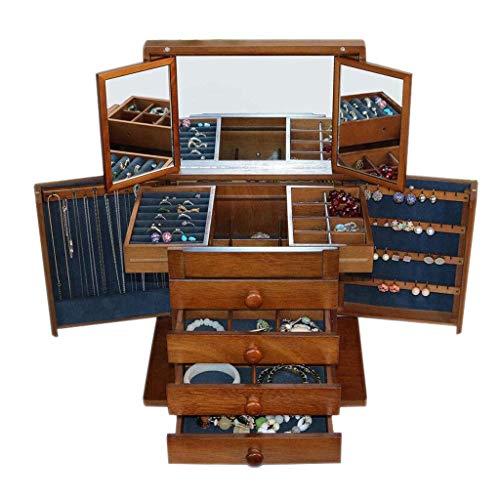 Cajas de joyería Caja de joyería de madera maciza con cajón de espejo Maquillaje multifunción EUROPEO Retro anillo collar Pendientes Pantalla de almacenamiento Gift 30.5 * 20.5 * 27.5cm