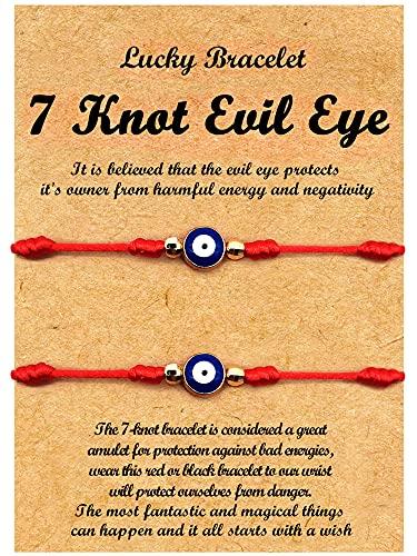XINSITE Upgraded 7 Knots Evil Eye Bracelet for women Adjustable Lucky Red String Bracelets Set Protection Bracelets for Mother Daughter Friendship Rope Braided ID Bracelet Set Gift for Mommy and Men Boy Girl