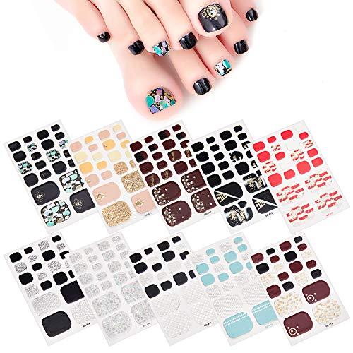 MWOOT Selbstklebend Nagelfolie Sticker (10Stk), DIY Fußnagel Nagelkunst Nagelsticker, Nageldesign Nagelaufkleber für Schnell&Einfach Maniküre, Füße Nagel Klebefolien - Stripe Styles Nail Wraps