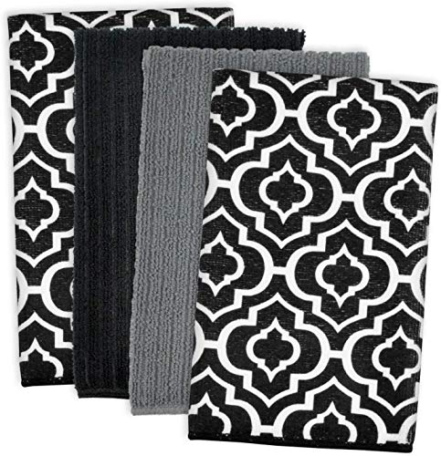 DII Microfiber Multi-Purpose Cleaning Towels Perfect for Kitchens, Dishes, Car, Dusting, Drying Rags, 16 x 19, Set of 4 - Black Lattice