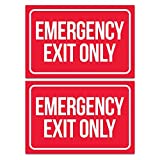 Emergency Exit Only Sticker Signs (Pack of 2) | Large Decals for Doors, Offices, Restaurants, Stores, Schools, Hospitals