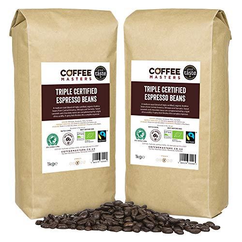 Coffee Masters Dreifach zertifiziert, Bio, Fairtrade, Arabica Kaffeebohnen 4x1kg - Gewinner des Great Taste Award 2018
