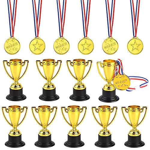 FEPITO Medaglie da Trofeo da 30 Pezzi Set da 10 Pezzi Trofeo plastico in Oro e medaglie da 20 Pezzi per premi Kid Party Sports