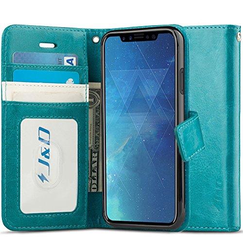 J&D Compatibile per Cover iPhone X, [RFID Blocco Portafoglio] [Sottile Adatta] Protettiva Robusta Antiurta Flip Custodia per iPhone X - Turchese