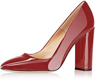 Pumps Women Sexy Patent Leather Pointed Toe Block Heels Pumps Gorgeous Evening Party Wedding Stiletto Shoes Plus Size