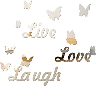LZYMSZ 3D Acrylic Mirror Wall Decor Stickers, DIY Love Live Laugh Butterfly Composed Art Self-Adhesive Wall Decals, Home D...