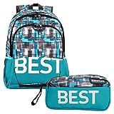 """BESTLIFE Mochila y estuche en un set """"TASKU"""" mochila escolar, para el tiempo libre con compartimento para el portátil hasta 15,6 pulgadas (39,6 cm), azul"""