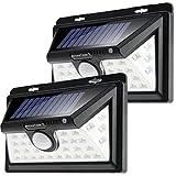 Monzana LED Solarleuchte mit Bewegungsmelder 2er Set Außen wetterbeständig 34 LEDs Wandleuchte 4Modi Gartenleuchte IP45