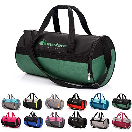 meteor Bolsa Deporte Viaje Gimnasio con Compartimento Separado para Zapatos Duffle Bag para Hombre Mujer Ultraligera Plegable Bolsa Deportiva 25 L Yoga Bolsa Fin de Semana (Negro Verde, 25 L)