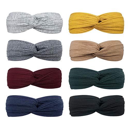 DRESHOW 8 Stück Damen Stirnband Kopfband Haarband Turban Elastische Kopf Wickeln Niedlich Haarschmuck für Mädchen