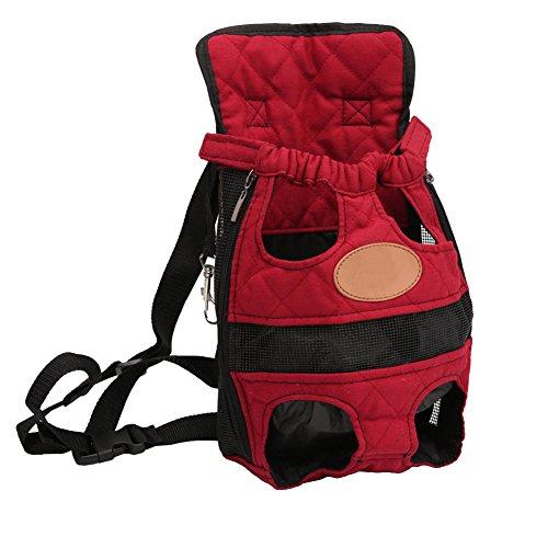 YOUJIA Plain Haustier Rucksäcke Hundetragetasche, Hund Katze Transporttasche Carrier Rucksack Vorne Brust Rucksack (S, Rot)