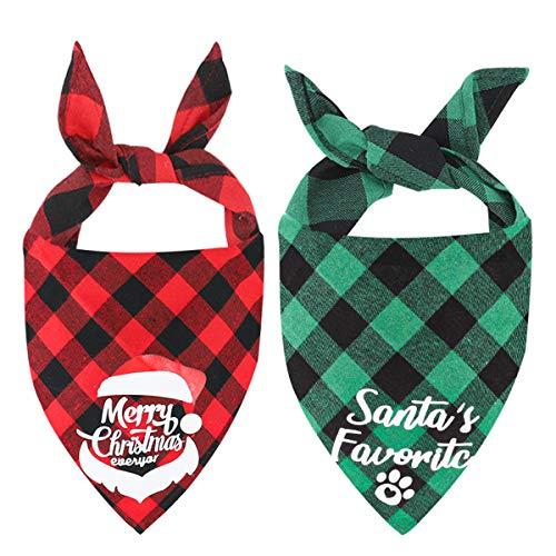 Weihnachts Hunde Bandana Kopftücher Hundehalstuch Dreieckstuch für Kleine, Mittelgroße und Große Hunde Katzen, 2 Stück