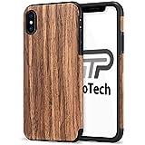 【TaoTech】 iphone X iphone XS 用 木製ケース 天然木製 木目 シリコン ケース (iphone X,iphone XS, 黒胡桃)