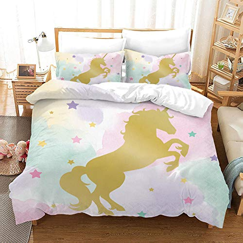 Duvet Cover Set Double (78.7x78.7 inch) Golden unicorn Bedding Printed Ultra Soft Hypoallergenic Microfiber with Zipper Closure + 2 Pillowcases 20x29.5 inch