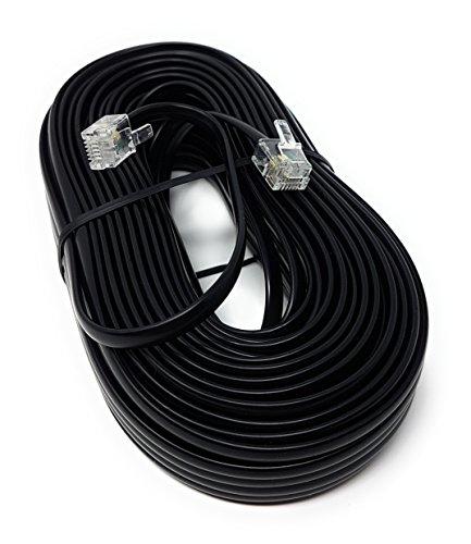 MainCore, Langes, schwarzes, flaches ADSL-Hochgeschwindigkeits-Breitbandmodem-Kabel, RJ11auf RJ11(erhältlich in 1m, 2m, 3m, 5m, 10m, 15m, 20m, 30m) 20m Schwarz