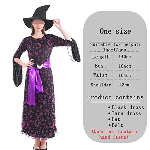 HALLOWEEN-COSTUMES Fancy Jurk Voor Heks Ster Print Elegante Kostuum Cosplay Sexy Masquerade Lange, Zwarte Hoed