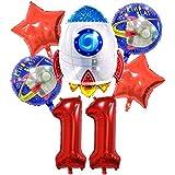 DIWULI, juego de globos espaciales cohete grande, globo XL número 11 rojo, globos de lámina de feliz cumpleaños 11º niño, fiesta temática, decoración, nave espacial, astronauta, estrellas, planeta
