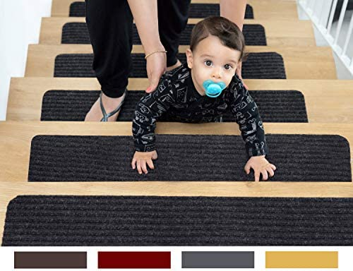 EdenProducts Non Slip Carpet Stair Treads 15 Count 8 x30 Gray Pre Applied Adhesive product image