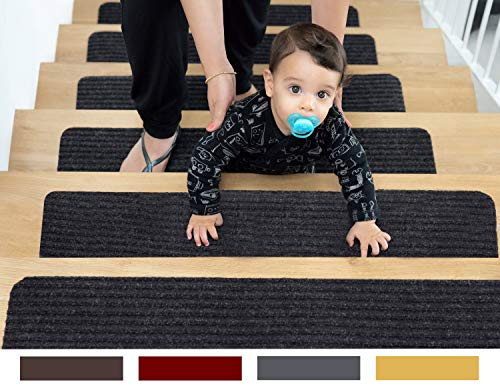 EdenProducts Patent Pending Non Slip Carpet Stair Treads, Set Of 15, Rug Non Skid Runner For Grip And Beauty. Safety Slip Resistant For Kids, Elders, And Dogs. 8' X 30', Gray, Pre Applied Adhesive