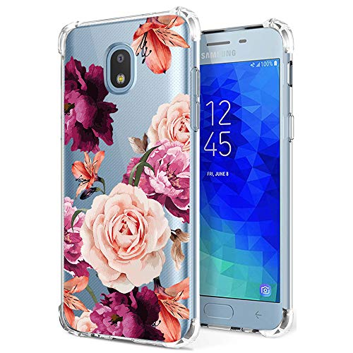 Case for Samsung Galaxy J7 2018, Galaxy J7 Refine, J7 V 2nd, J7 Star, J7 Aero, J7 Top, J7 Crown, J7 Aura for Girls Women Clear with Flowers Design Shockproof Bumper Protective Cute Floral Phone Cover
