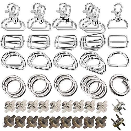 Anyasen Hebilla deslizante metal 60 piezas Hebillas Mochila Metálicas de 25 mm Cierre Magnético Hebillas Metálicas D y O anillos hebilla deslizante Triglide para Correa Cinturón Mochila Bolso DIY