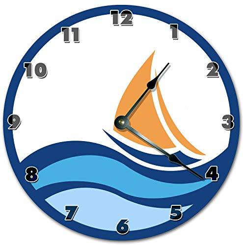 Reloj de pared redondo de 30,5 cm, funciona con pilas, con números arábigos, reloj de vela para windsurf, decoración del hogar