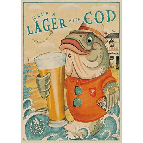 WYBFLF Leinwandplakat Lustiges Bierplakat Vintage Plakat Coffeeshop Wohnzimmer Bar Bier Hotel Dekoration Malerei Poster Drucke 40 * 60Cm Rahmenlos