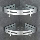 Gricol Mensola da Doccia Senza Foratura Mensola da Angolare in Alluminio Aeronautico con 2 Ganci Auto Adesivo Anti-Ruggine Cestelli Porta Oggetti da Muro per Bagno 2 Pezzi