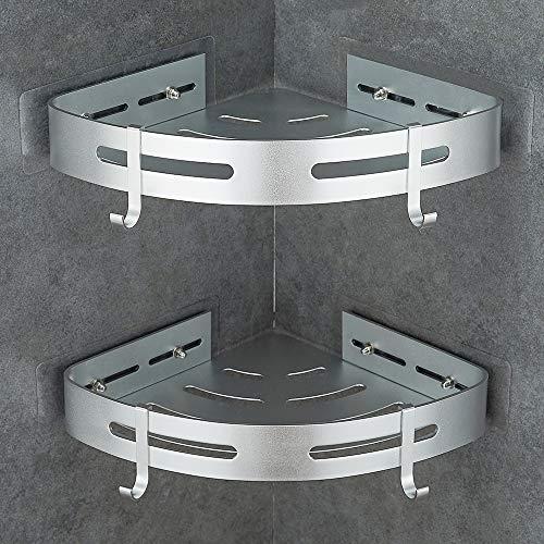 Gricol Etagère de Douche d'angle sans Perçage en Aluminium Aéronautique Antirouille de Salle de Bains (Argent)