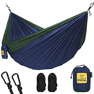 Wise Owl Outfitters Hammock for Camping Single & Double Hammocks - Top Rated Best Quality Gear For The Outdoors Backpacking Survival or Travel - Portable Lightweight Parachute Nylon DO Navy & Forrest