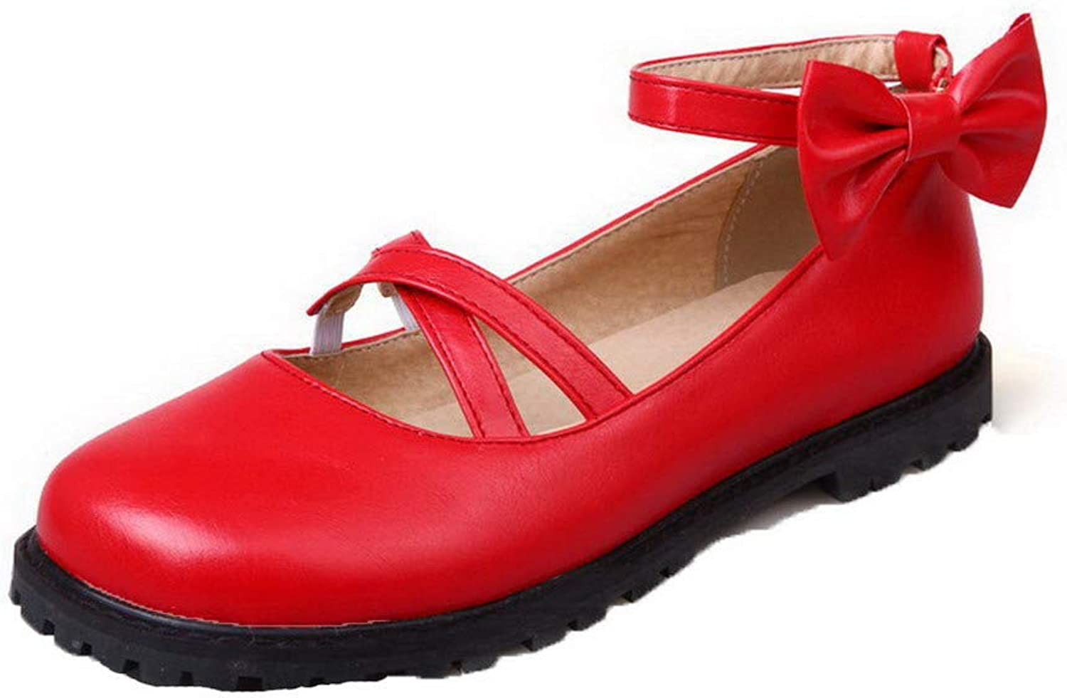 WeenFashion Women's Solid Pu Low-Heels Buckle Round Toe Pumps-shoes, AMGDX005755